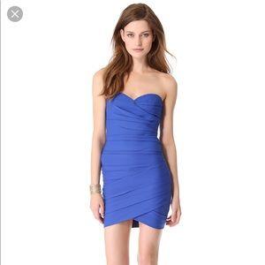 BCBG Max Azria strapless blue bodycon dress.